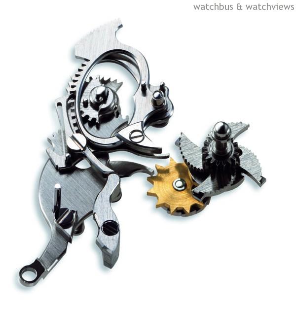 二音槌報時三問錶的機械結構,包括齒輪框(Rack),三層齒輪框(Three Racks)配合三層蝸形輪(Three Snails)以防止報時誤差的奇異機件(Surprise-Piece) 。