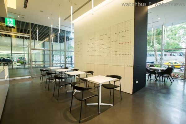 Audi Café的空間牆面文字,可見Audi品牌DNA及具有象徵意義的歷史隱藏其中。