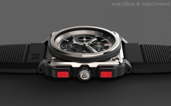 BR-X1更是使用最先進的五級鈦金屬作為錶殼材質,搭配高科技陶瓷與橡膠,複合呈現未來戰機堅若坦克卻輕如蝶翼的機動性能。