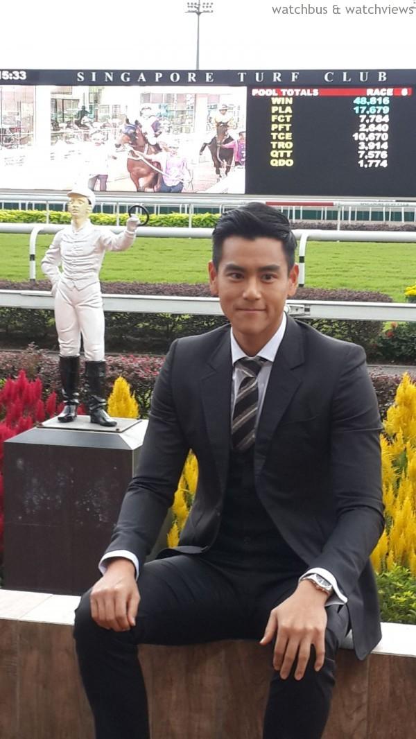 浪琴表新任的全球優雅形象大使彭于晏(Eddie Peng)特地參加2014年浪琴新加坡金盃大賽