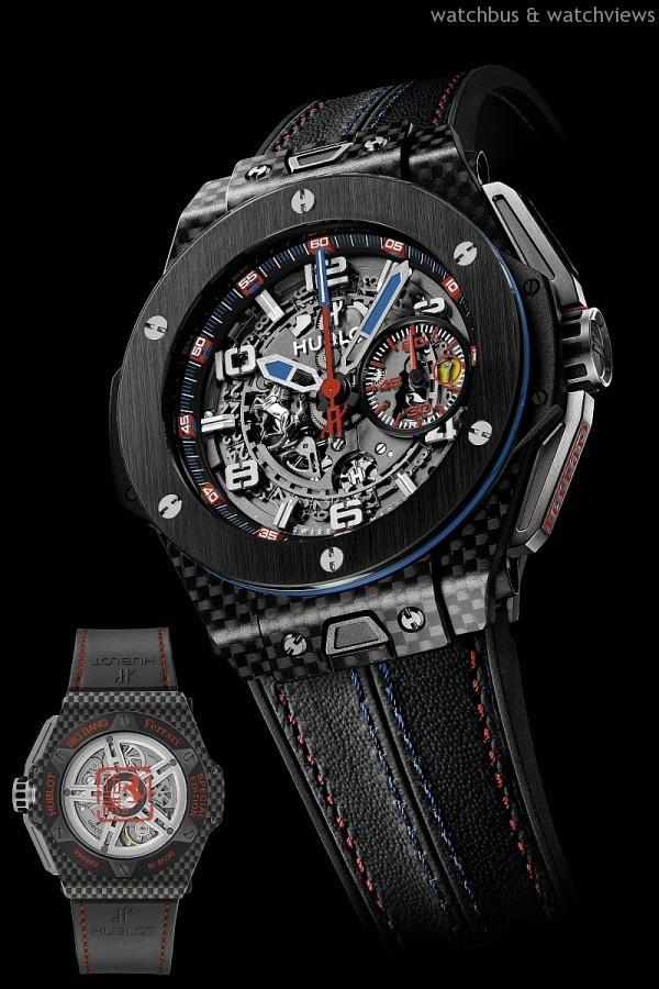 Big Bang 法拉利台灣獨家限量腕錶,售價NTD998,000,限量典藏30枚,碳纖維材質錶殼,錶徑45.5毫米,藍寶石鏡面錶盤,轉印HUBLOT宇舶錶標識,拋光緞面髮絲紋黑色陶瓷錶圈,鑲嵌6顆H型覆黑色PVD塗層鈦金屬螺釘,微噴砂處理和黑色拋光陶瓷錶背,飾法拉利躍馬標誌,內側防眩藍寶石鏡面,防水100米,HUB 1241 UNICO自動上鍊飛返計時碼錶機芯,黑色Schedoni法拉利車座皮底,以紅色與藍色縫線縫合,內襯黑色天然橡膠錶帶。
