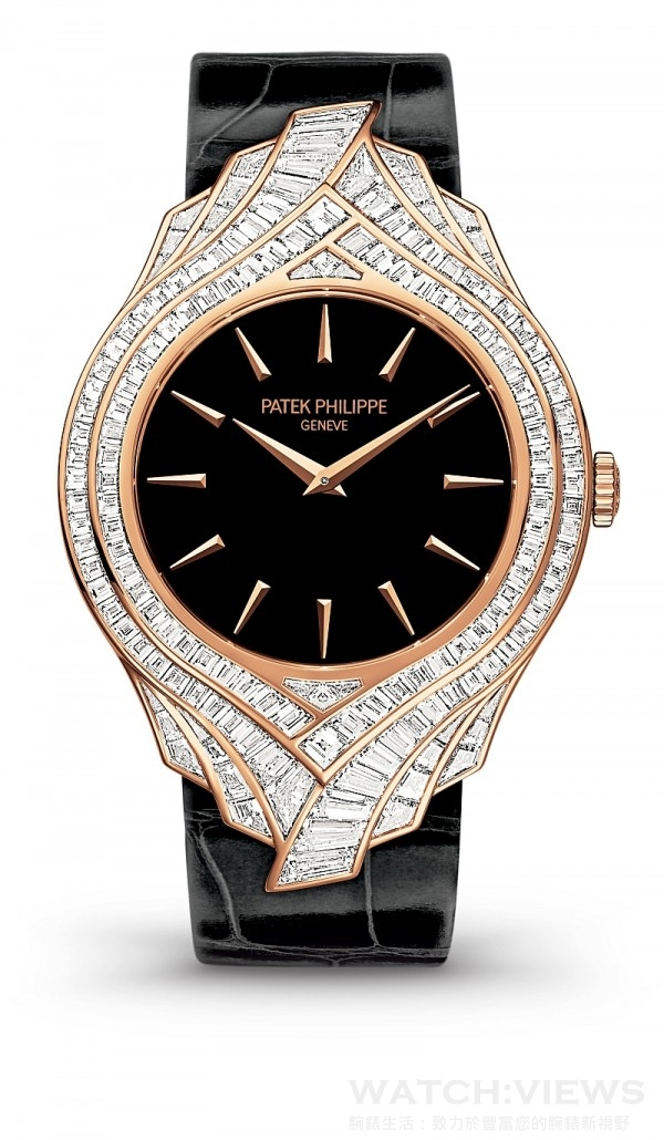 Ref.4895R 高級珠寶腕錶,18K 玫瑰金錶殼,錶徑34 毫米,鑲嵌162顆、5.62克拉鑽石,時、分顯示,215 手上鍊機芯,鱷魚皮錶帶,18K 玫瑰金針扣鑲嵌20 顆、0.72 克拉美鑽。