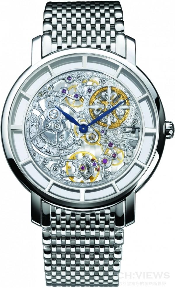 Ref.5180/1G 鏤空錶,18K 白金錶殼,錶徑39 毫米,時、分顯示,240 SQU 自動上鍊機芯經鍍銠處理,由人手鏤空、雕飾及加工,百達翡麗印記,防水30 米,百達翡麗鍊帶附18K 白金摺疊扣。
