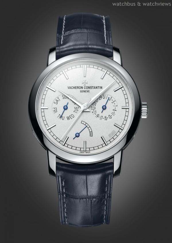 鉑金錶殼,直徑39.5毫米,時、分、秒、日期、星期、動力儲能顯示,2475SC自動上鍊機芯,江詩丹頓研發並製造,直徑26.2毫米,約40小時動力儲存,經過日內瓦印記認證,透明藍寶石水晶錶底蓋,防水30米,鉑金錶盤,噴砂工藝,4時和5時位置之間有「PT950」印記,深藍色密西西比鱷魚皮錶帶,950鉑金絲線手工縫製,鉑金三片式折疊錶扣,限量發行100枚,錶殼背蓋刻有限量編號。