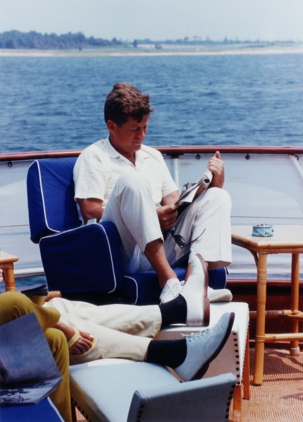 President Kennedy Relaxing