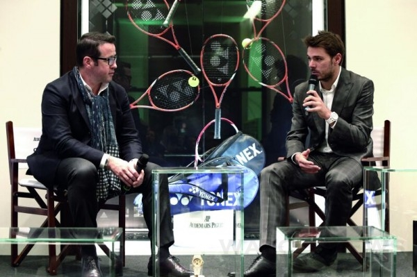 愛彼行政總裁Francois-Henry Bennahmias(圖左)於11月25日晚上在著名製錶品牌愛彼位於日内瓦的專賣店,接待斯坦‧瓦林卡(Stan Wawrinka)(圖右)