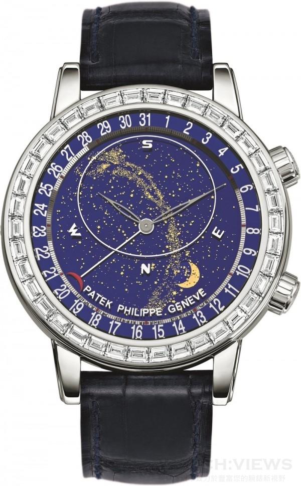 百達翡麗「Celestial」系列6104G腕錶,自動上弦機械機芯,蒼穹圖、月相及月球軌跡,天狼星及月球中天時間顯示,240 LU CL C機芯,厚度6.81毫米、寶石數45顆,時、分顯示, 48小時動力儲存,錶殼白金材質,錶徑尺寸44毫米,寶石玻璃底蓋,鑲嵌38顆長形鑽石,錶帶為手工縫製鱷魚皮材質,搭配22顆鑽石鑲嵌折疊式錶扣,價格店洽。