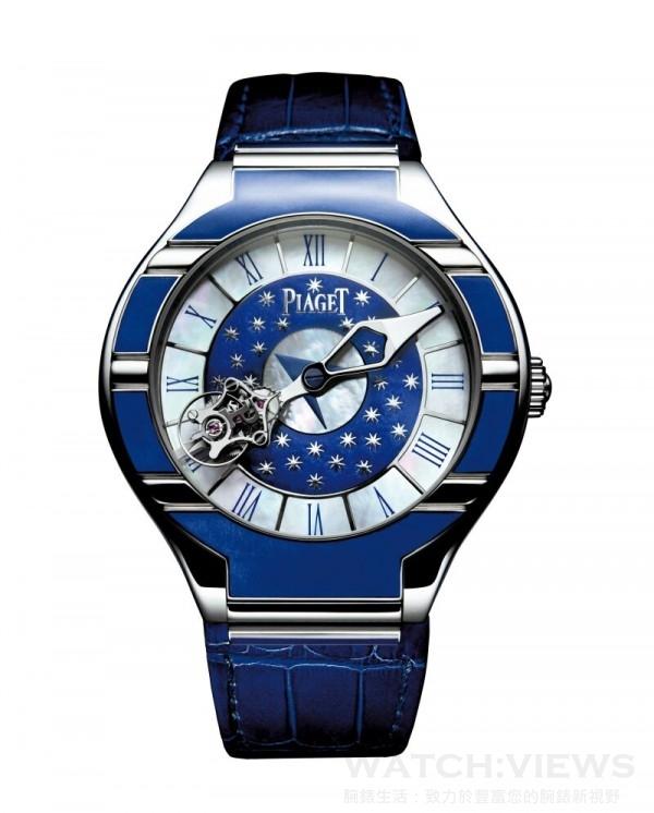 伯爵在2007年為慶誌聖馬可鐘塔修復,特別推出這款限量的Piaget Polo相對陀飛輪琺瑯彩繪限量腕錶。