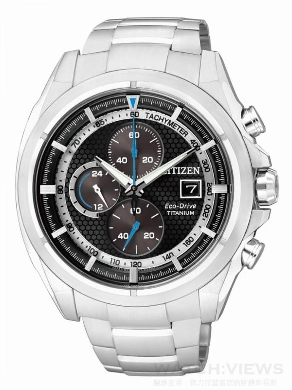 CITIZEN Eco-Drive Super Titanium 光動能超級鈦錶款,型號CA0551-50A,定價NT. 18,000,鈦金屬錶殼,鈦金屬錶帶,防水10氣壓,藍寶石玻璃鏡面,充滿電後可連續運作7個月,碼錶計時、24小時制顯示、日期顯示。