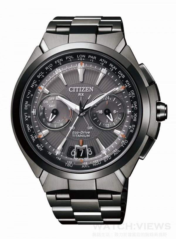 CC1085-52E,定價NT. 65,000,鈦金屬錶殼 + DLC高耐磨處理,鈦金屬錶帶 + DLC高耐磨處理,防水10氣壓,雙面防眩光寶石玻璃鏡面,充滿電後可連續運作2年。