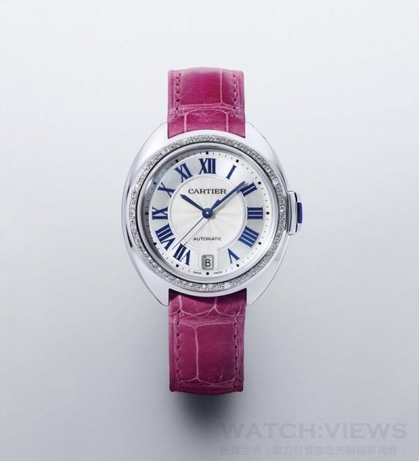 Clé de Cartier腕錶, 18K白金錶殼鑲嵌圓形明亮式切割鑽石,直徑31毫米,時、分、秒、日期顯示,卡地亞1847 MC型工作坊精製自動上鏈機械機芯。