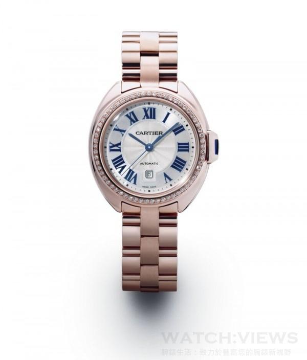 Clé de Cartier腕錶, 18K玫瑰白金錶殼鑲嵌圓形明亮式切割鑽石,直徑31毫米,時、分、秒、日期顯示,卡地亞1847 MC型工作坊精製自動上鏈機械機芯。