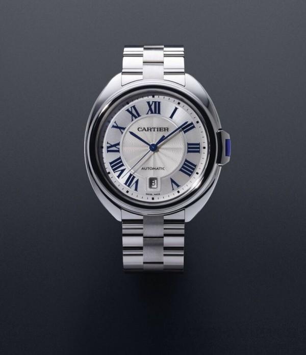 Clé de Cartier腕錶, 18K白金錶殼,直徑40毫米,時、分、秒、日期顯示,卡地亞1847 MC型工作坊精製自動上鏈機械機芯。