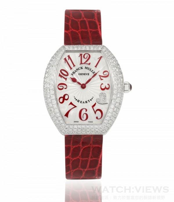 FRANCK MULLER Heart系列白K金鑽錶 ,定價NTD 1,305,000。