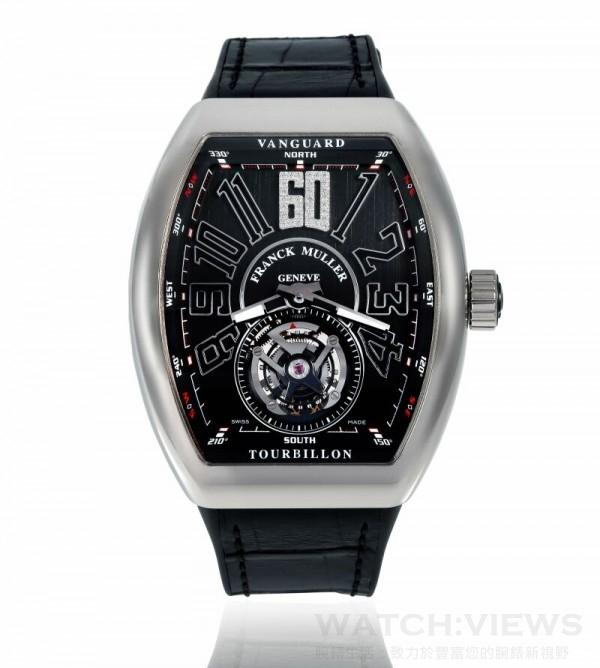 FRANCK MULLER Vanguard系列特別限量版白K金陀飛輪腕錶,定價NTD 3,800,000。