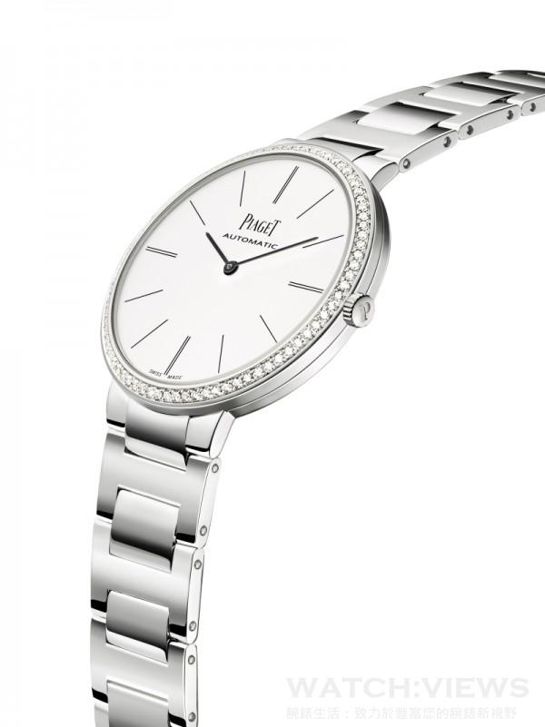 Piaget Altiplano 金質鏈帶 – 38毫米,18K 白金錶殼,鑲嵌78顆圓形美鑽 (約重0.7克拉) ,白色錶盤搭配深灰色時間刻度,搭載伯爵製 534P 自動上鍊機械機芯,時、分顯示,18K白金鏈帶配摺疊式錶釦,型號G0A40112,台幣建議售價1,360,000元。