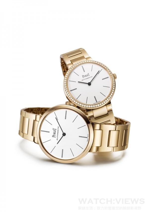 (左)Piaget Altiplano 金質鏈帶 – 38毫米,18K 玫瑰金錶殼,白色錶盤搭配深灰色時間刻度,搭載伯爵製 534P 自動上鍊機械機芯,時、分顯示,18K玫瑰金鏈帶配摺疊式錶釦,型號G0A40113,台幣建議售價1,040,000元。 (右)Piaget Altiplano 金質鏈帶 – 34毫米,18K 玫瑰金錶殼,鑲嵌68顆圓形美鑽 (約重0.6克拉) ,白色錶盤搭配深灰色時間刻度,搭載伯爵製 534P 自動上鍊機械機芯,時、分顯示,18K玫瑰金鏈帶配摺疊式錶釦,型號G0A40108,台幣建議售價1,210,000元。