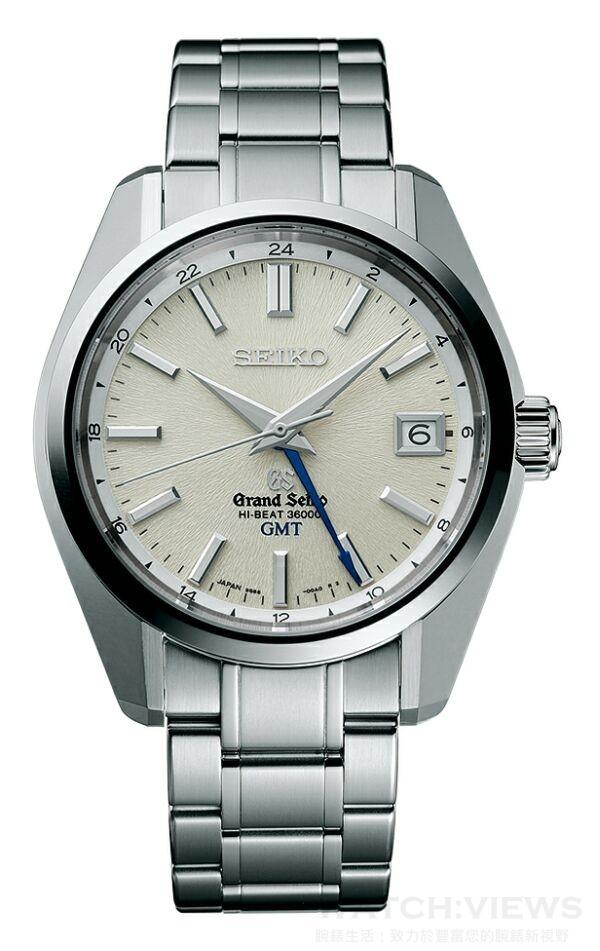 Grand Seiko Hi-Beat 36,000轉GMT年度新款,型號SBGJ001,不鏽鋼錶殼,錶徑40毫米,透視背蓋、可鎖式錶冠、雙弧面藍寶石水晶鏡面(防眩鍍膜)、日常生活用防水、動力儲存55小時、平均日差+5至-3秒、GMT雙時區顯示,9S86機芯,售價NT$220,000。