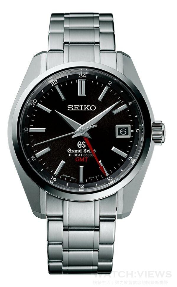 Grand Seiko Hi-Beat 36,000轉GMT年度新款,型號SBGJ003,不鏽鋼錶殼,錶徑40毫米,透視背蓋、可鎖式錶冠、雙弧面藍寶石水晶鏡面(防眩鍍膜)、日常生活用防水、動力儲存55小時、平均日差+5至-3秒、GMT雙時區顯示,9S86機芯,售價NT$220,000。