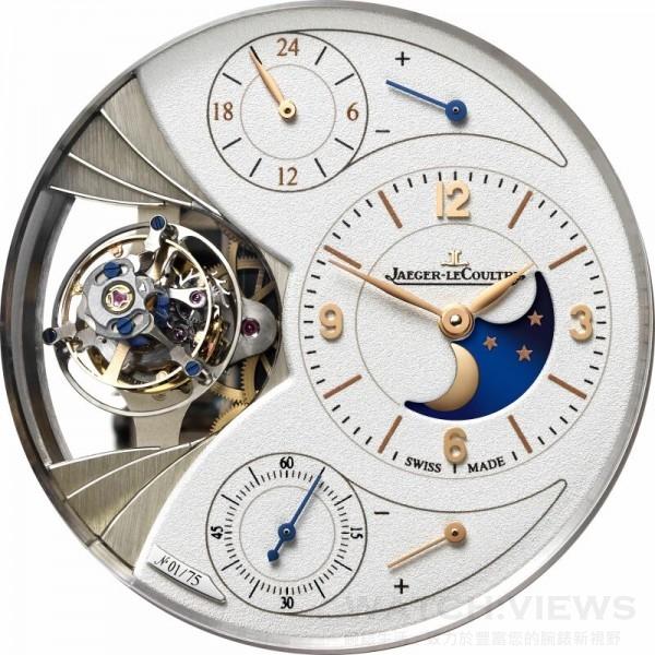 地球的自轉軸是天文學愛好者最津津樂道的話題之一。每個星球均有其自轉軸,而自轉軸並非垂直於公轉軌道平面,地球的自轉軸與公轉軌道平面形成約23度的夾角。此傾斜角度使地球出現四季更替的現象。Duomètre Sphérotourbillon Moon腕錶的Spherotourbillon球型陀飛輪增加一條額外的轉軸,從而能夠進行立體的旋轉運動。
