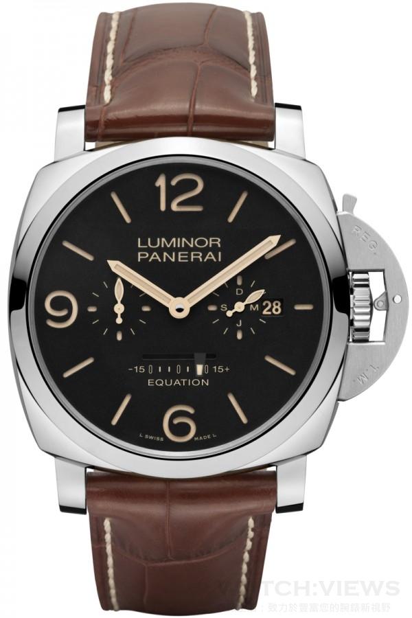 Luminor 1950 Equation of Time 8 Days (PAM00601)腕錶,不鏽鋼錶殼,錶徑47毫米,時、分、小秒盤、日期、月份顯示、時間等式顯示,沛納海P.2002/E手動上鏈機械機芯,完全由沛納海研製,動力儲能192小時,防水100米,限量100只。