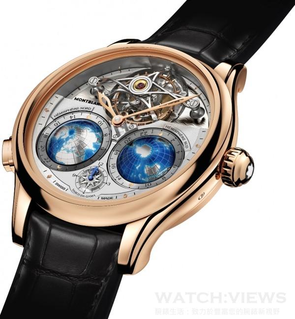 萬寶龍Villeret系列圓筒游絲陀飛輪Geosphères Vasco da Gama限量款腕錶,產品編號111675,18K玫瑰金(5N)錶殼,錶徑47毫米,建議售價NT$8,330,000,全球限量18只。
