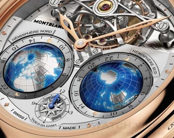 萬寶龍Villeret系列圓筒游絲陀飛輪Geosphères Vasco da Gama限量款腕錶以小時與分鐘形式顯示三重時區和本地時間;在6點鐘位置設有一個3D立體12小時指南針持續指示出發地時間且獨立可調;還有一對標有全球24個時區的地球儀,顯示晝夜的流逝與更迭。兩個半球上的微型雕刻畫以浮雕方式勾勒出了全球各大洲的輪廓、分界線及將它們分隔開來的海洋。