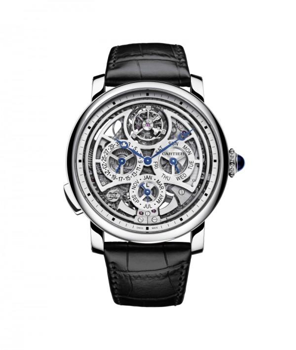 Rotonde de Cartier大型複雜功能鏤空腕錶 ,950鉑金錶殼,直徑45毫米,圓珠形950鉑金錶冠,鑲嵌一顆凸圓形藍寶石,三問報時、浮動式陀飛輪、萬年曆、鏤空裝飾 ,卡地亞9406 MC型自動上鏈機芯,腕錶榮膺「Poinçon de Genève」(日內瓦優質印記)。
