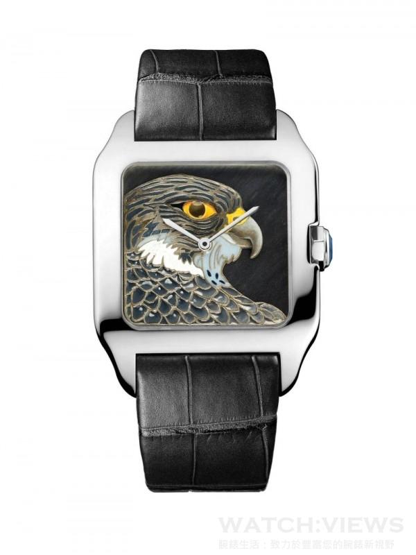 Santos-Dumont獵鷹裝飾腕錶,大型款,18K白金錶殼,18K白金錶盤,手工浮雕和內填琺瑯圖案,獵鷹裝飾,卡地亞430 MC型工作坊精製手動上鏈機械機芯,編號並限量發售80枚。
