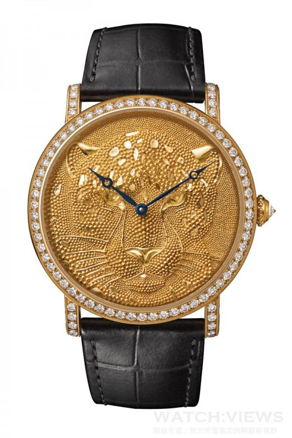 Rotonde de Cartier美洲豹裝飾腕錶,直徑42毫米 ,18K黃金錶殼,鑲嵌圓形明亮式切割鑽石,22K黃金錶盤,金屬珠粒美洲豹裝飾,卡地亞9601 MC型工作坊精製手動上鏈機械機芯,編號並限量發售20枚。