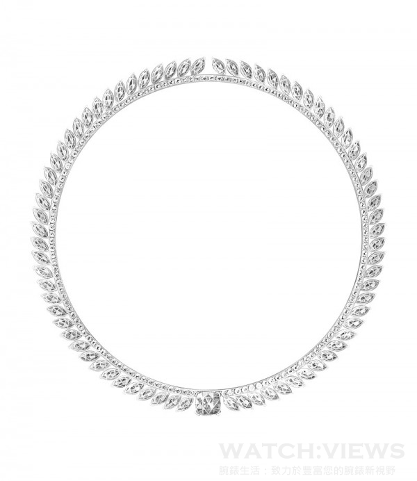 伯爵Extremely Piaget項鍊, 18K白金,鑲嵌151 顆圓形美鑽 (約 8 克拉),74 馬眼型切割美鑽(約33.50克拉) 及單顆枕型切割美鑽 (約4.03 克拉),Ref: G37LY138,台幣參考價格31,800,000元。