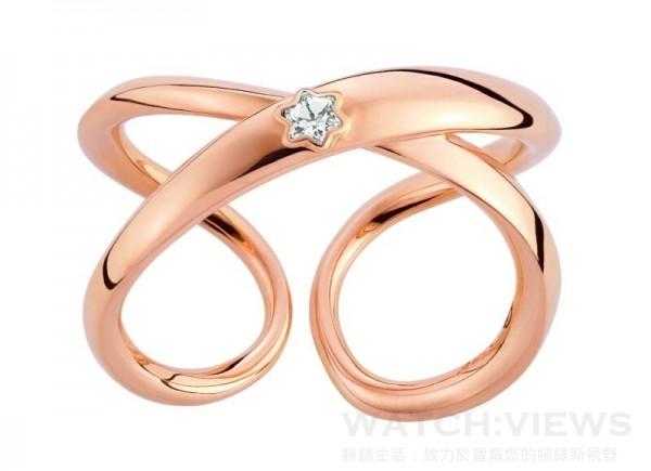 萬寶龍Infiniment Vôtre系列玫瑰金鑲鑽戒指,NT$70,000。
