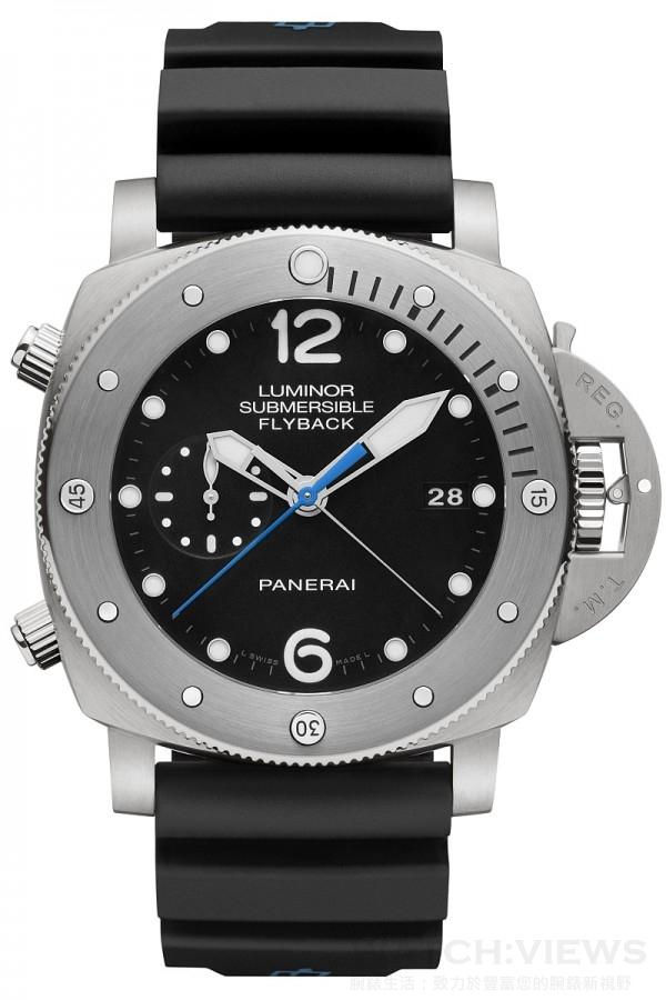 Luminor Submersible 1950 3 Days Chrono Flyback Automatic Titanio - 47毫米3日動力儲存飛返計時自動專業潛水鈦金屬腕錶,PAM00614,磨砂鈦金屬錶殼,直徑47毫米,單向磨砂金屬錶框附夜光圓點及阿拉伯數字時標,時、分、小秒針、日期、可計算下潛時間、飛返計時、秒針歸零,黑色錶盤,防水300米,黑色橡膠錶帶。