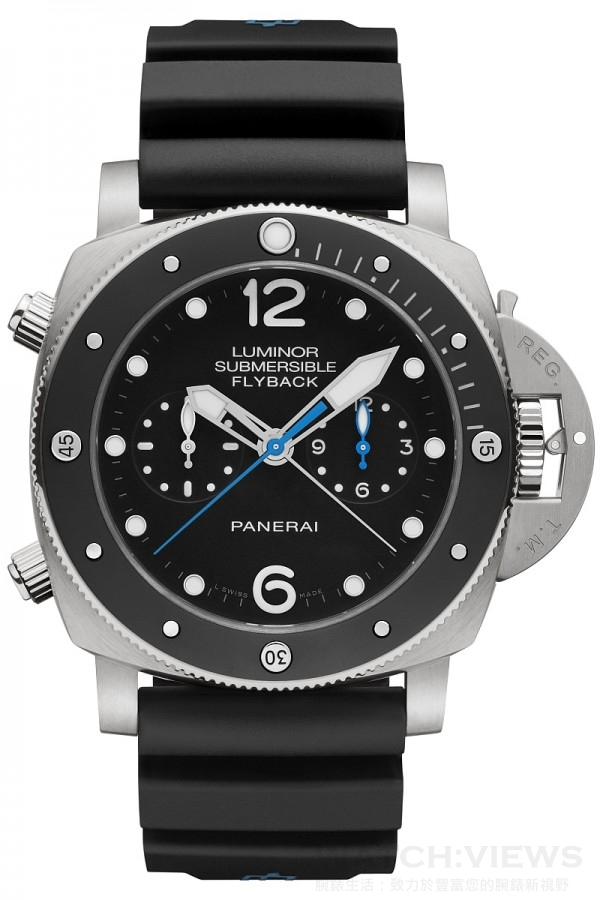 Luminor Submersible 1950 3 Days Chrono Flyback Automatic Titanio - 47毫米3日動力儲存飛返計時自動專業潛水鈦金屬腕錶,PAM00615,磨砂鈦金屬錶殼,直徑47毫米,單向可旋轉啞光黑色陶瓷錶框附夜光圓點及阿拉伯數字時標,時、分、小秒針、日期、可計算下潛時間、飛返計時、秒針歸零,黑色錶盤,防水300米,黑色橡膠錶帶。