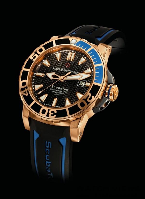 柏拉维 ScubaTec 潛水腕錶,18K 玫瑰金錶殼,錶徑44.6毫米,18K 玫瑰金及陶質錶圈,日期,小時,分鐘,秒針CFB 1950.1 自動上鏈機芯,瑞士官方天文台認證,動力儲存 38 小時,自動排氦氣閥及錶冠以黑鈦金屬保護,旋入式錶冠,雙面抗折射藍寶石水晶鏡面,鈦金屬錶背,防水深度 500 米,橡膠錶帶。