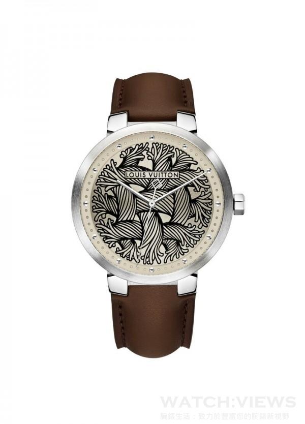Tambour Damier Rope腕錶,不鏽鋼 Damier 錶殼,直徑39毫米,錶盤壓印的圖案靈感來自Christopher Nemeth經典繩索主題,石英機芯,限量50枚,獨立編號,Monogram帆布錶帶,新穎獨特設計,市面上沒有類似款式。