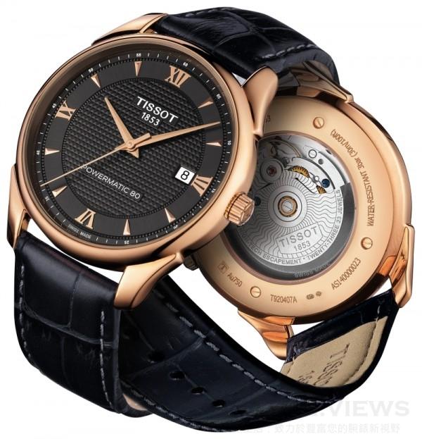 Vintage腕錶系列,18K玫瑰金錶殼,瑞士製造Powermatic 80自動上鏈機芯,透明底蓋,抗磨損藍寶石水晶鏡面,防水30米,皮革錶帶搭配按鈕式蝴蝶釦。