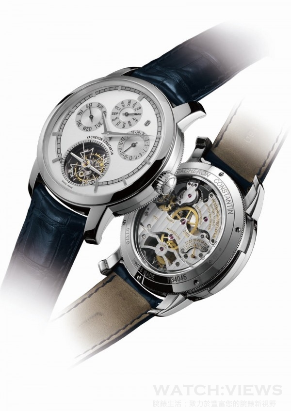 Traditionelle 2755機芯腕錶,950鉑金錶殼,錶徑44毫米,時、分、小秒指示、日期、星期、月份、閏年顯示、萬年曆、陀飛輪、三問報時、錶背儲能顯示,2755手上鍊機芯,日內瓦印記,儲能55小時,藍寶石水晶玻璃鏡面,鱷魚皮錶帶。洽詢電話:(02)8101-8658。