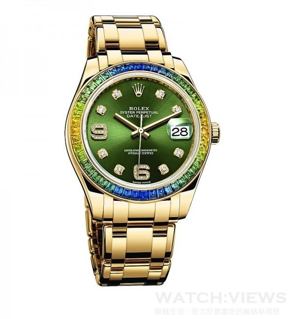 Oyster Perpetual Datejust Pearlmaster 39,型號86348 SABLV – 42748,18 ct 黃金蠔式錶殼 (原塊金屬鑄造中層錶殼、旋入式底蓋及上鏈錶冠),直徑39 毫米,外圈鑲嵌48顆藍色漸變至綠色方形切割藍寶石,橄欖綠色太陽光線效果錶面,18 ct 黃金鐘點標記,密鑲8顆鑽石; 6和9數字鐘點標記,密鑲16顆鑽石,時、分、秒、瞬跳日期,勞力士3235型機芯,恒動擺鉈為機械機芯作雙向自動上鏈,頂級天文台精密時計(superlative chronometer),瑞士天文台認證(COSC)+ 勞力士天文台精密時計測試,順磁性藍色Parachrom 游絲,高性能 Paraflex 緩震裝置,高效能Chronergy 擒縱裝置,順磁性鎳磷合金擒縱叉與擒縱輪,動力儲能70小時,防水100 米,18 ct 黃金珍珠淑女型,五格實心鏈節錶帶,內嵌陶質組件。