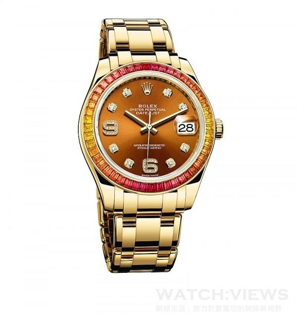 Oyster Perpetual Datejust Pearlmaster 39,型號86348 SAJOR – 42748,18 ct 黃金蠔式錶殼 (原塊金屬鑄造中層錶殼、旋入式底蓋及上鏈錶冠),直徑39 毫米,外圈鑲嵌48顆橙色漸變至黃色方形切割藍寶石,干邑色太陽光線效果錶面,18 ct 黃金鐘點標記,密鑲8顆鑽石; 6和9數字鐘點標記,密鑲16顆鑽石,時、分、秒、瞬跳日期,勞力士3235型機芯,恒動擺鉈為機械機芯作雙向自動上鏈,頂級天文台精密時計(superlative chronometer),瑞士天文台認證(COSC)+ 勞力士天文台精密時計測試,順磁性藍色Parachrom 游絲,高性能 Paraflex 緩震裝置,高效能Chronergy 擒縱裝置,順磁性鎳磷合金擒縱叉與擒縱輪,動力儲能70小時,防水100 米,18 ct 黃金珍珠淑女型,五格實心鏈節錶帶,內嵌陶質組件。
