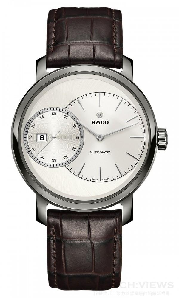 Rado雷達表Diamaster鑽霸系列Grande Seconde自動機械腕錶,拋光等離子高科技陶瓷錶殼,整體式構造,錶徑43x51.2毫米,時、分、大秒針、日期,2899自動機芯,42小時動力儲存,防水100米,棕色皮革錶帶,建議售價NTD96,500。