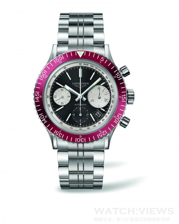 浪琴Heritage Diver 1967復刻潛水腕錶,不鏽鋼錶殼,直徑42毫米,酒紅色刻度錶圈和銀色測速刻度,時、分、小秒針、日期、計時碼錶,L688.2自動上鍊機芯(ETA A08.231),54小時動力儲存,防水300米,不銹鋼、黑色鱷魚皮或橡膠錶帶。