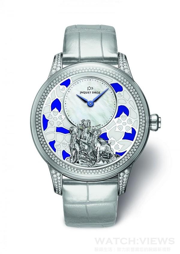 Ateliers d'Art Petite Heure Minute Relief Goats羊年腕錶,18K白金錶殼,錶徑41毫米,縞瑪瑙時分盤,內填琺瑯(champlevé)面盤,金雕山羊圖案,時分顯示,Jaquet Droz 2653自動上鍊機芯,動力儲能68小時,限量28只。