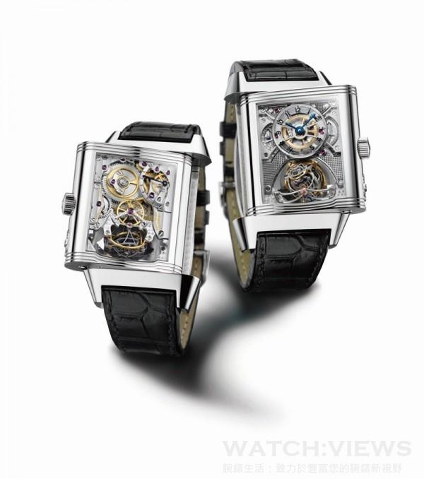 JLC Reverso Gyrotourbillon球形陀飛輪2號腕錶,950鉑金錶殼、18K白金錶冠,錶徑36x55x15.8毫米,積家174型手上鍊機芯,儲能50小時,時、分、小秒指示、球體雙軸陀飛 輪、24小時顯示、錶背儲能顯示,藍寶石水晶鏡面、後底蓋,鱷魚皮錶帶,防水30米,限量75只。洽詢電話:0800-619-688。