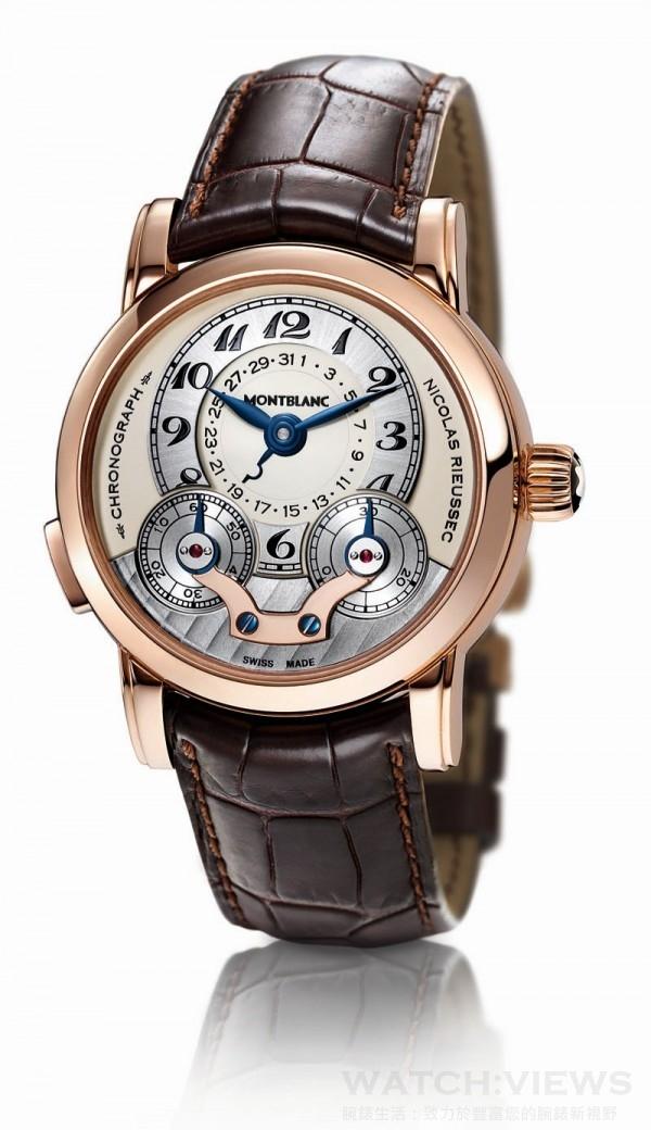 Nicolas Rieussec單按把同軸計時腕錶,18K玫瑰金錶殼,錶徑43毫米,時、分指示、日期指示、轉盤計時顯示、單按把計時碼錶、錶背儲能顯示,MB R100手上鍊機芯,儲能72小時,藍寶石水晶鏡面、後底蓋,鱷魚皮錶帶,限量125只。洽詢電話:(02)2713-1620。