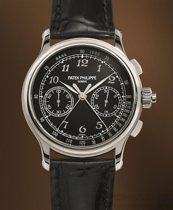 百達翡麗編號5370雙針計秒計時秒錶,950鉑金錶殼,錶徑41毫米, 6時位置錶耳間鑲有一顆頂級Wesselton鑽石,黑色琺瑯面盤,中央時及分針、計時秒針及雙針計時秒針、小秒針、30分計時盤,CHR 29-535 PS手上鍊機芯,百達翡麗印記,防水30米,備有鉑金與寶石玻璃錶殼底蓋可供轉換,鱷魚皮錶帶附950鉑金摺疊扣。
