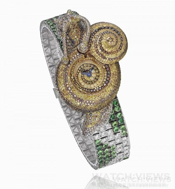 蕭邦動物世界系列- 蝸牛腕錶,型號: 104279-9001,售價NT$15,876,000。