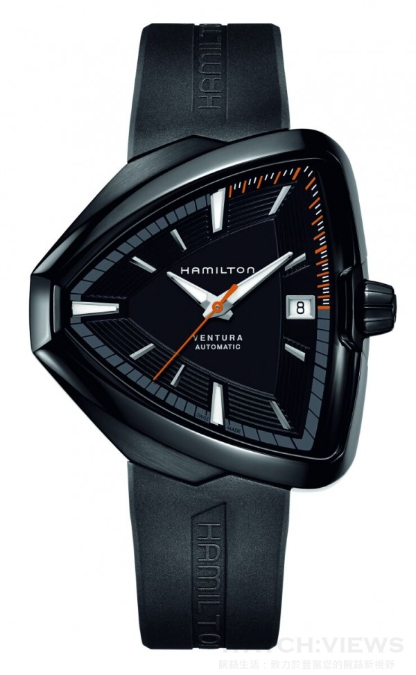 Ventura80 Elvis周年紀念款自動上鍊腕錶,黑色PVD不鏽鋼錶殼,錶徑42.5x44.6毫米,時、分、秒、日期,H-10專屬自動上鍊機芯,80小時動力儲存,防水50 米,黑色橡膠或皮革錶帶。