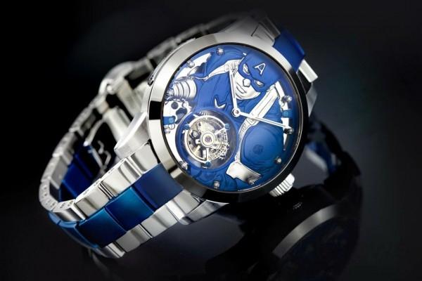 復仇者聯盟系列 –美國隊長陀飛輪腕錶,型號MV 0423,不鏽鋼錶殼,直徑43毫米,時、分指示,60秒陀飛輪,動力儲存40小時,美國隊長造型浮雕面盤,時間刻度鑲嵌10枚鑽石,鍍藍色不銹鋼錶帶,藍寶石水晶錶面及底蓋,限量100只,建議售價NT$195,200。