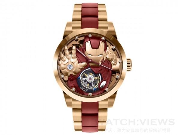 復仇者聯盟系列 – 鋼鐵人陀飛輪腕錶,型號MV 0423,鍍玫瑰金不鏽鋼錶殼,直徑43毫米,時、分指示,60秒陀飛輪,動力儲存40小時,鋼鐵人造型浮雕面盤,時間刻度鑲嵌10枚鑽石,鋼鐵人掌心鑲崁1顆約0.13克拉VVS鑽石,鍍紅色、玫瑰金不銹鋼錶帶,藍寶石水晶錶面及底蓋,限量400只,建議售價NT$195,200。